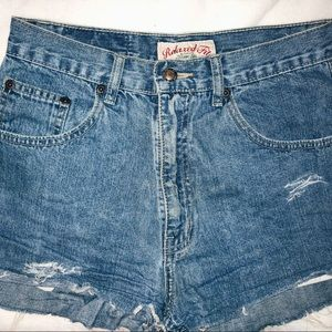 THRIFTED very high waisted distressed jean shorts
